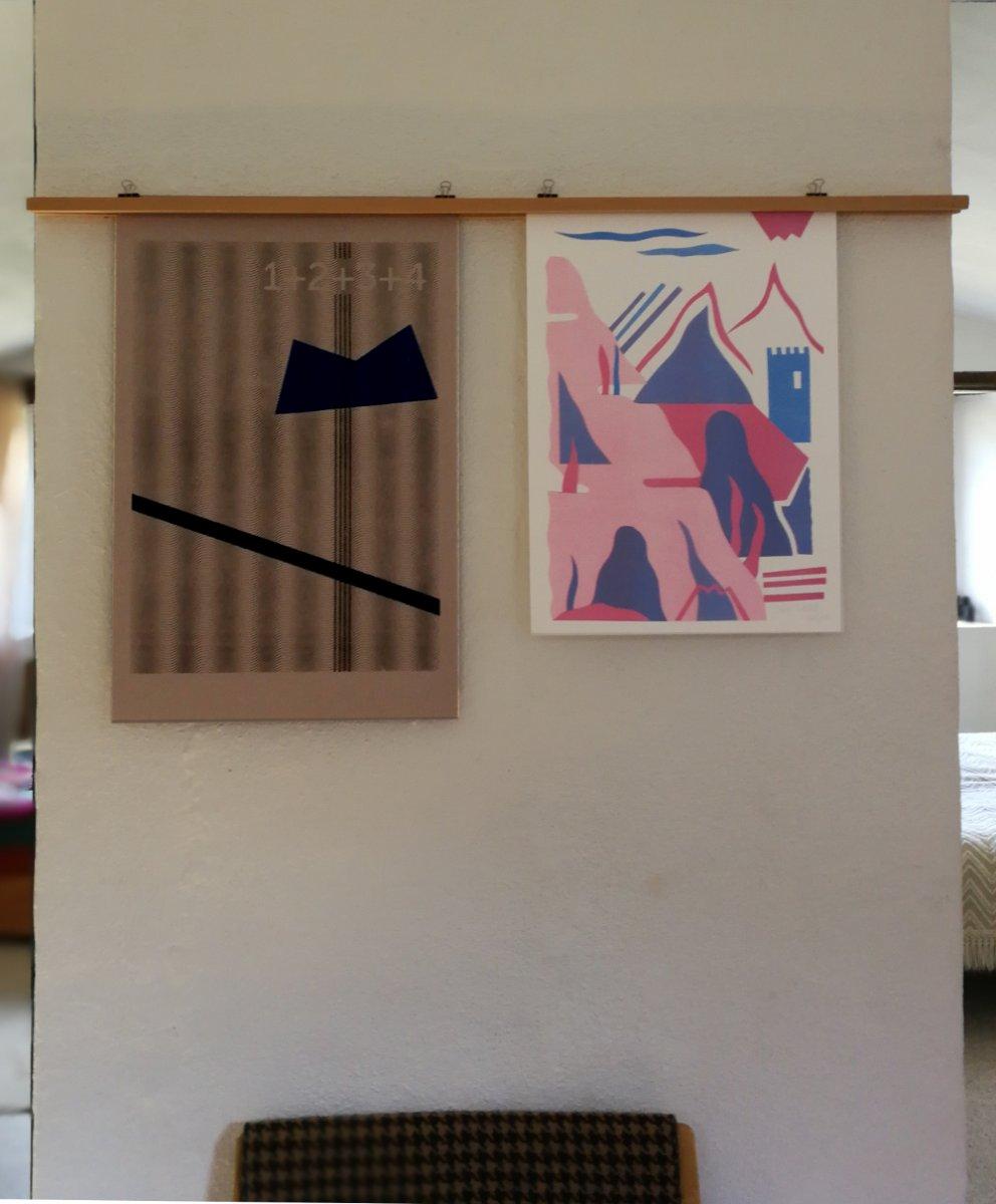 A gauche une illustration de Jonathan et à droite une risographie de Ben Sanair.
