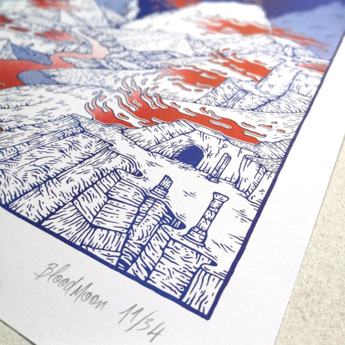 Bloodmoon, Risographie sur papier Moulin du Coq / Hahnemühle – 120 grammes.