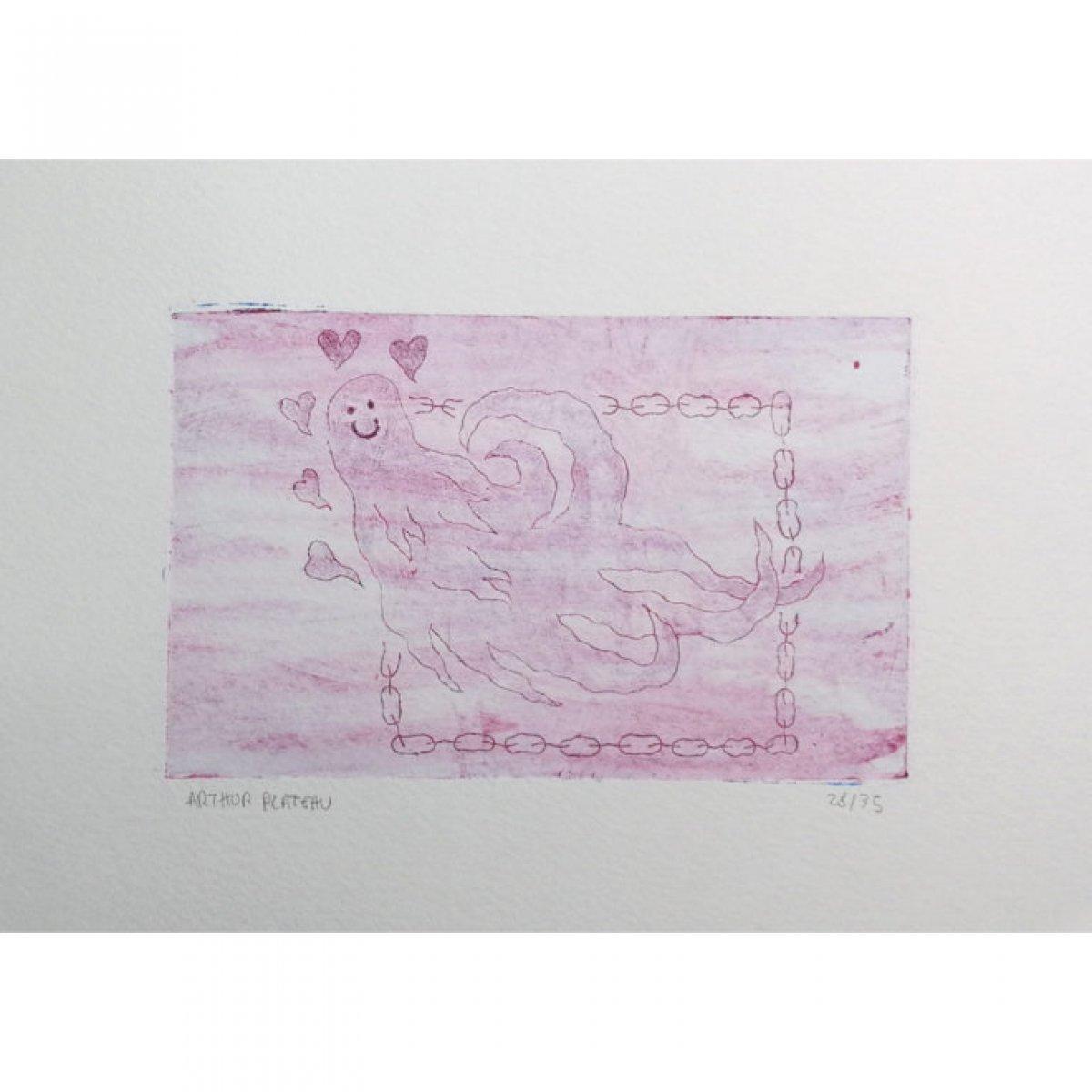 Fantôme fleur bleue, Gravure sur Tétra Pak – Canson Montval 300 grammes.