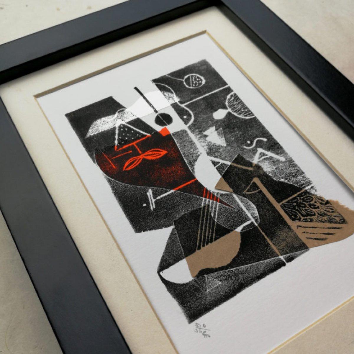 S. Parapluie, S. Moustache, Gravure et collage – papier 200 gr.