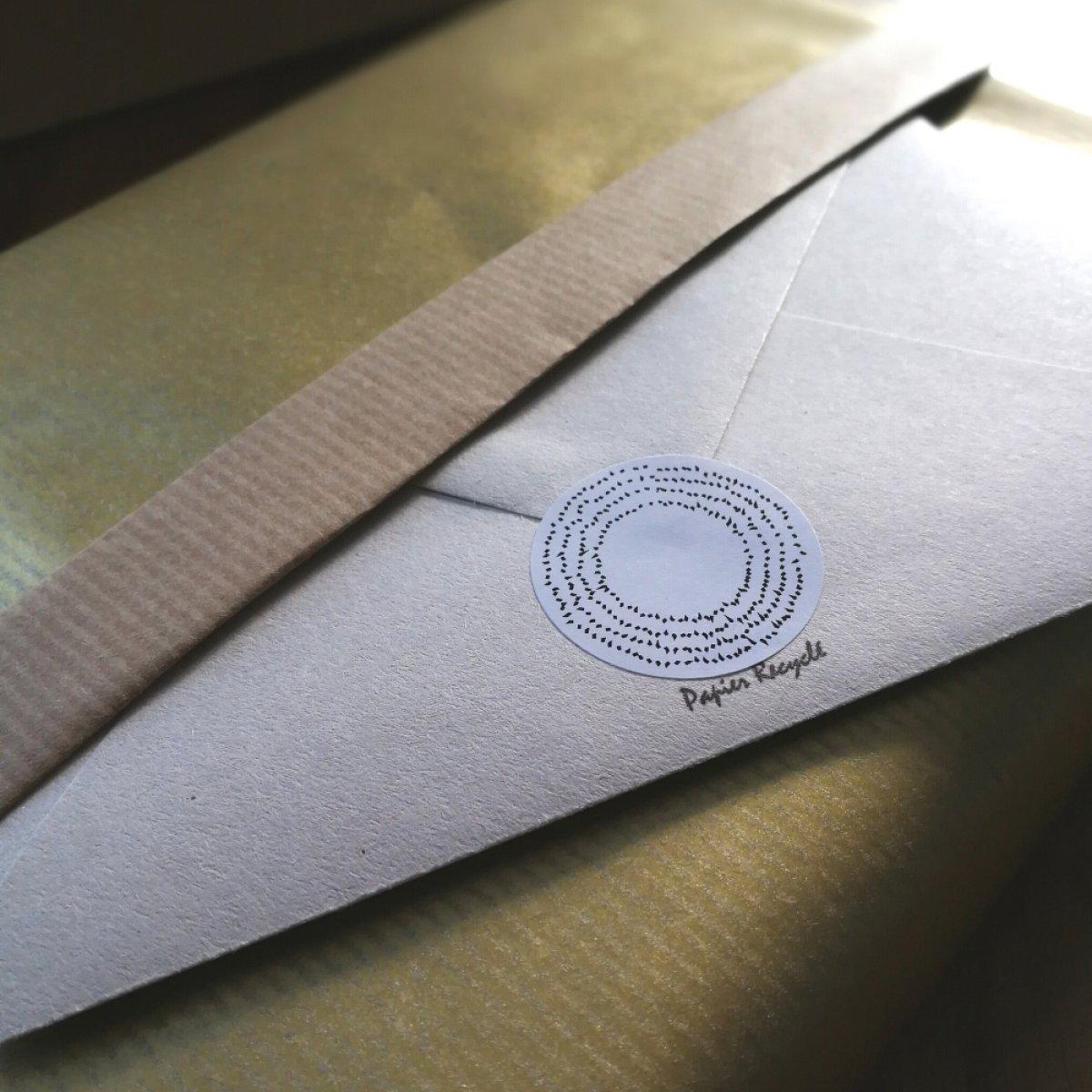 Les papiers utilisés pour les emballages, les enveloppes et les bagues des lots Abcdarium de Jonathan Gowthorpe par exemple.