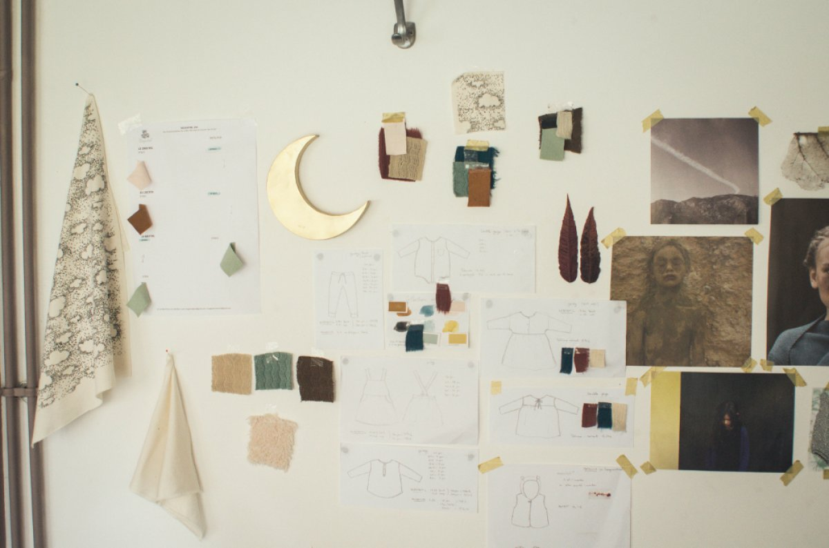 Le Moodboard de la prochaine collection, tout en texture, matière et couleurs au clair de lune.