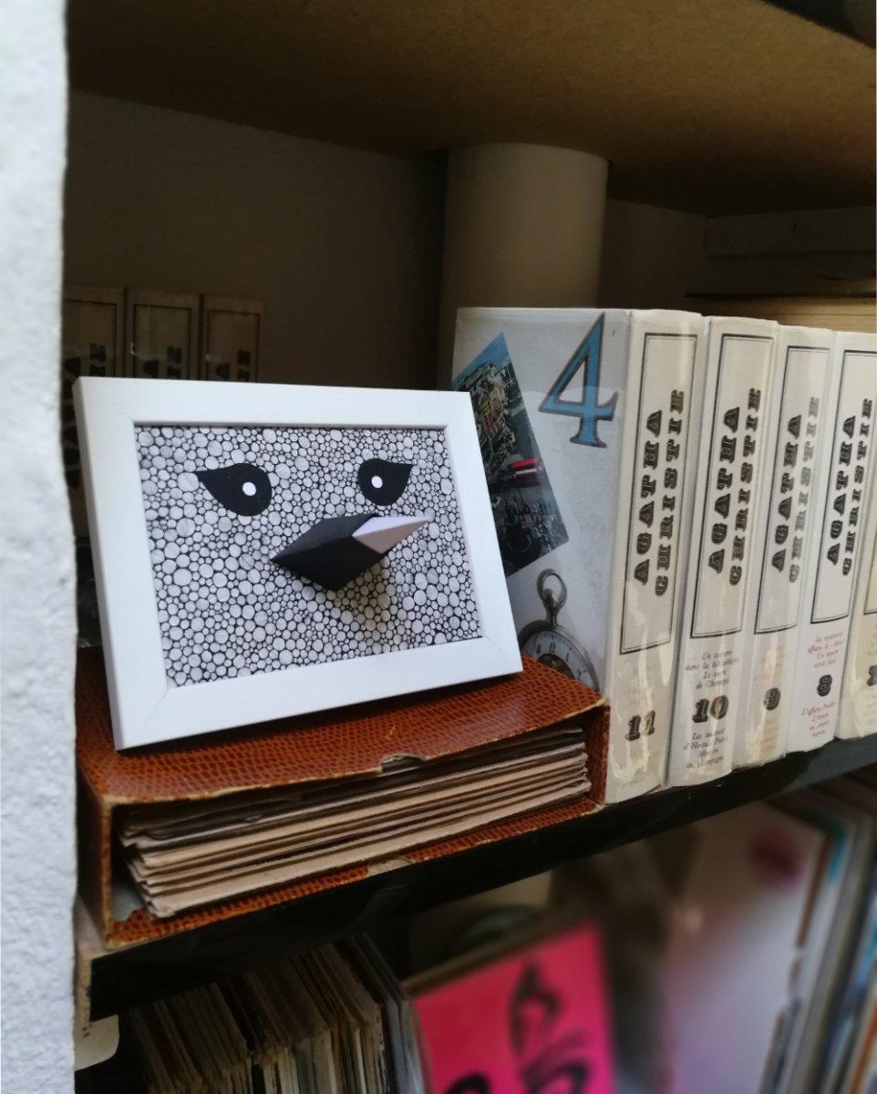 Entre les murs des étagères, un oiseau de la série Beak.