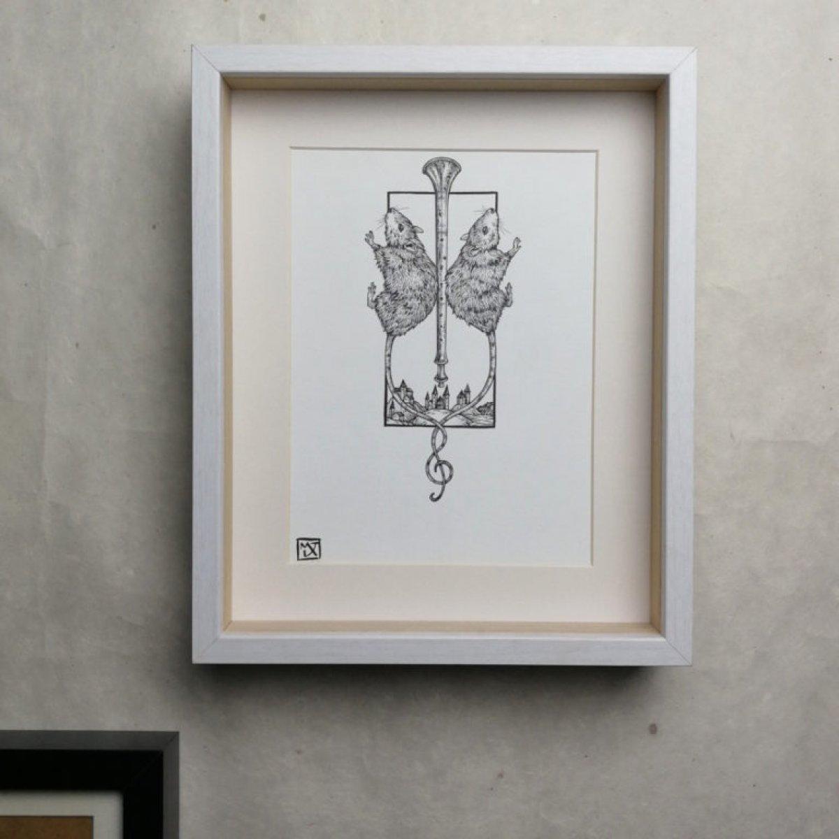 Hamelin, dessin au feutre noir sur papier 220 grammes.