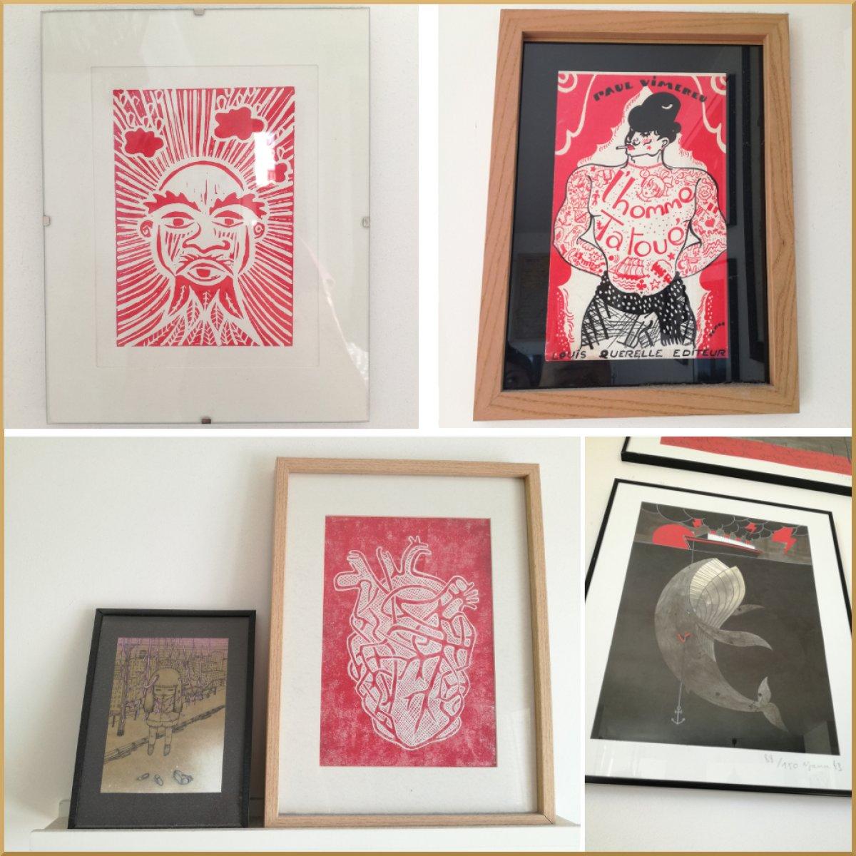 De haut en bas: Gravure de Margeline Mouron, illustration issue du roman L'homme tatoué – artiste inconnu, illustration offerte en cadeau – artiste inconnu et gravure de Margeline Mouron, tirage d'art « Death boat » de Yann Black.