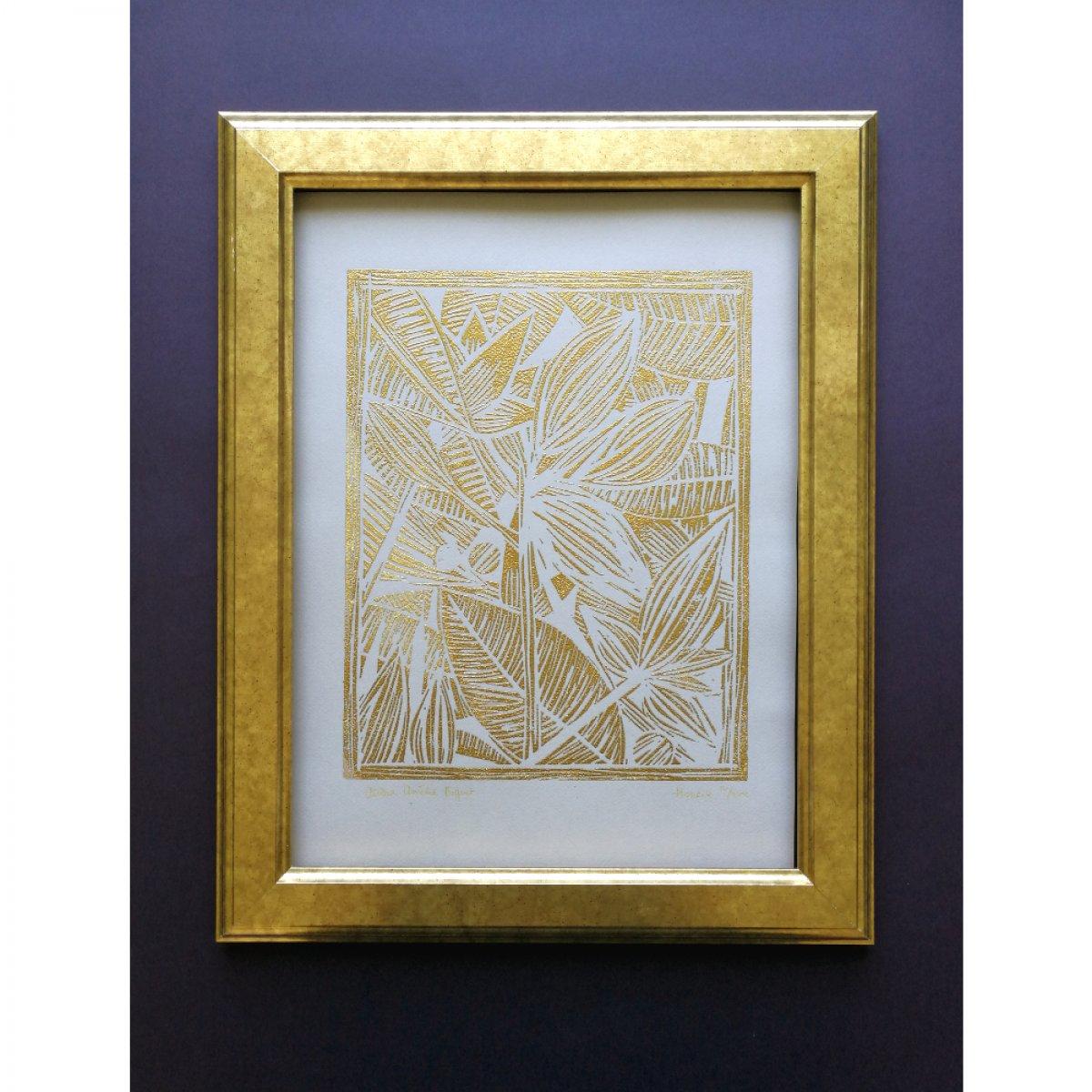 Houria, Linogravure sur papier Canson 160 grammes, gravée à main levée, imprimée à la main puis embossée à chaud. Disponible en deux versions: sur papier bleu ou gris.